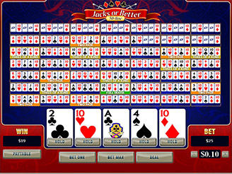 Play 50-Line Jacks or Better Video Poker Online