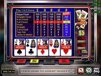 Play Jacks Or Better Video Poker Online